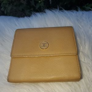Authentic Yellow Leather Chanel Bi-Fold Wallet